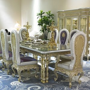 Luxury Italian Palace rectangle white Dining Table with golden black chair